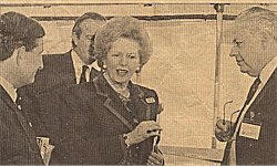 The Prime Ministerial visit, 1990. Nicholas Bennett MP and Mr Govan Davies explain Pembroke Dock's economic development to Mrs Thatcher.