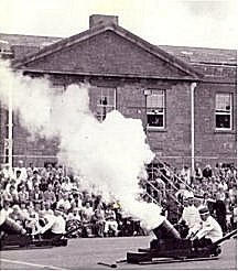 The 1987 Military Tattoo - The Pembroke Dock Volunteer Artillery make the Defensible Barracks ring to the sound of gunfire once again.