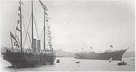 Victoria and Albert II and III, two generations of Royal Yachts, at Pembroke Dock in 1899.